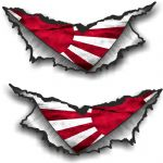 SMALL Pair Triangular Ripped Torn Metal & JDM Rising Sun Japanese Flag Vinyl Car Sticker 75x35mm Ea.